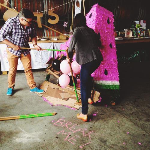 Watermelon piñata's at the Spier Secret Festival
