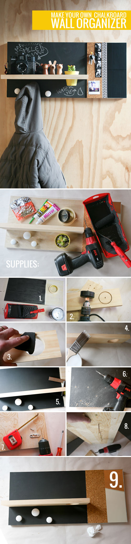 Make Your Own Chalkboard Wall Organizer